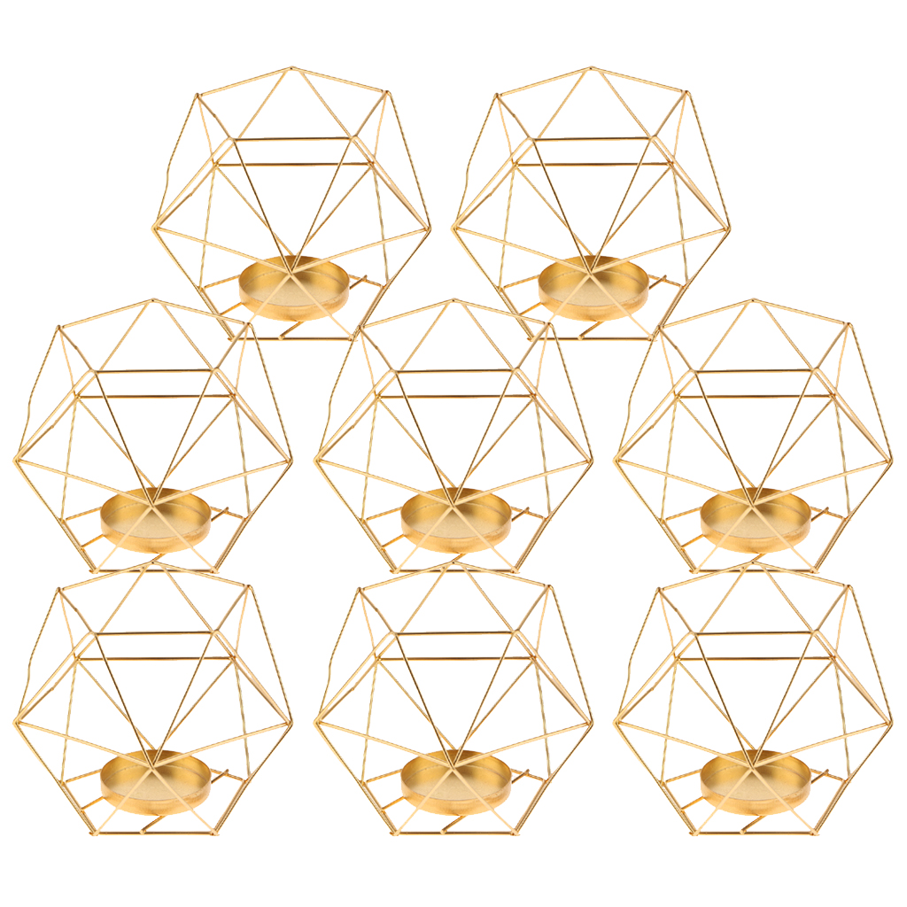 Pack 8 3D Geometric Tea Light Candle Holders Stands Wedding Centerpieces Home Decor ,GoldCandle Holders