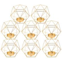 Pack 8 3D Geometrische Tee Licht Kerzenhalter Steht Hochzeit Mittelstücke Home Decor, Gold