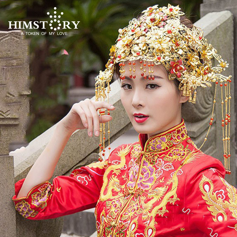 цены 2017 Luxuriois Gorgeous Costume Ancient Chinese Princess Empress Hair Cap Wedding Hair Accessory Bride Hair Tiaras Coronet