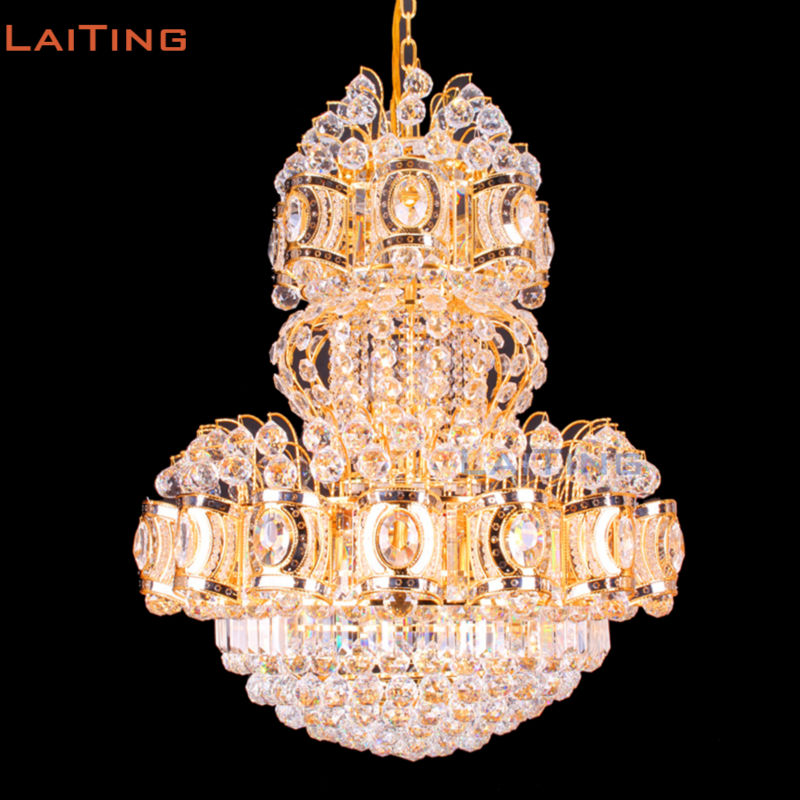 Indian Diwali Luxury K9 Crystal Chandelier Lighting Home Living Room Gold Chandelier Lamp Guaranteed 100% free shipping white blue chandelier living room candle lamps luxury acrylic crystal chandelier lights ac 100% guaranteed