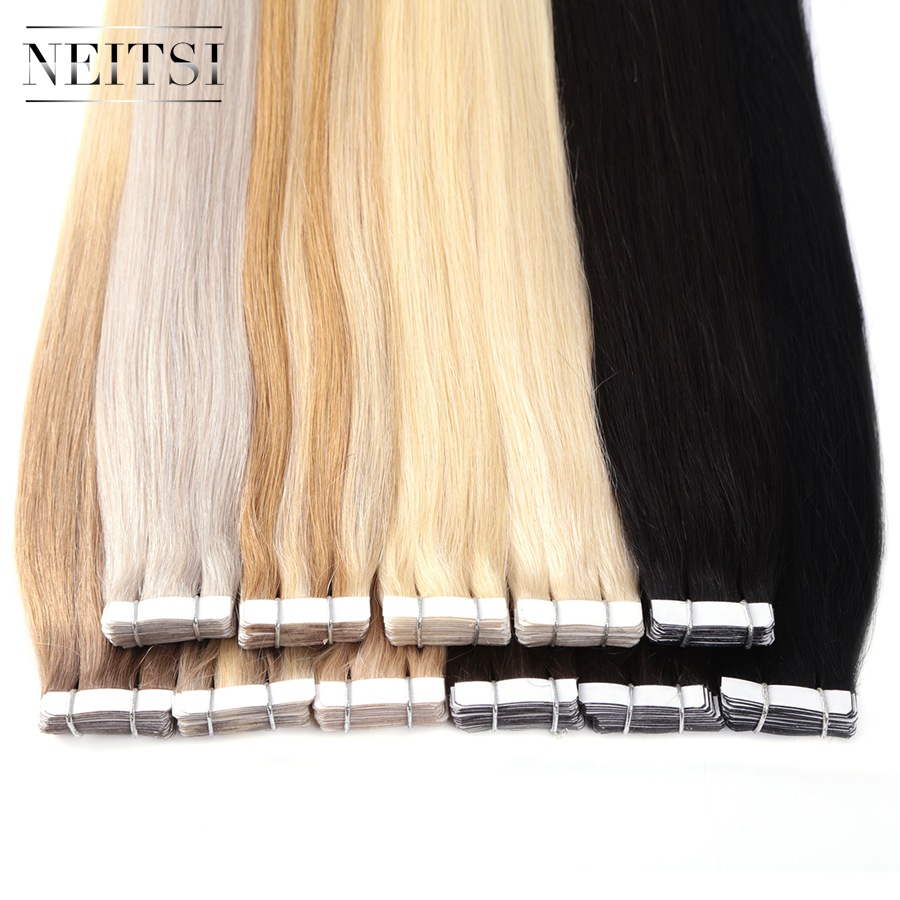 Neitsi Brazilian Straight Skin Weft Hair Tape In None Remy Human Hair Extensions 22 2 2g