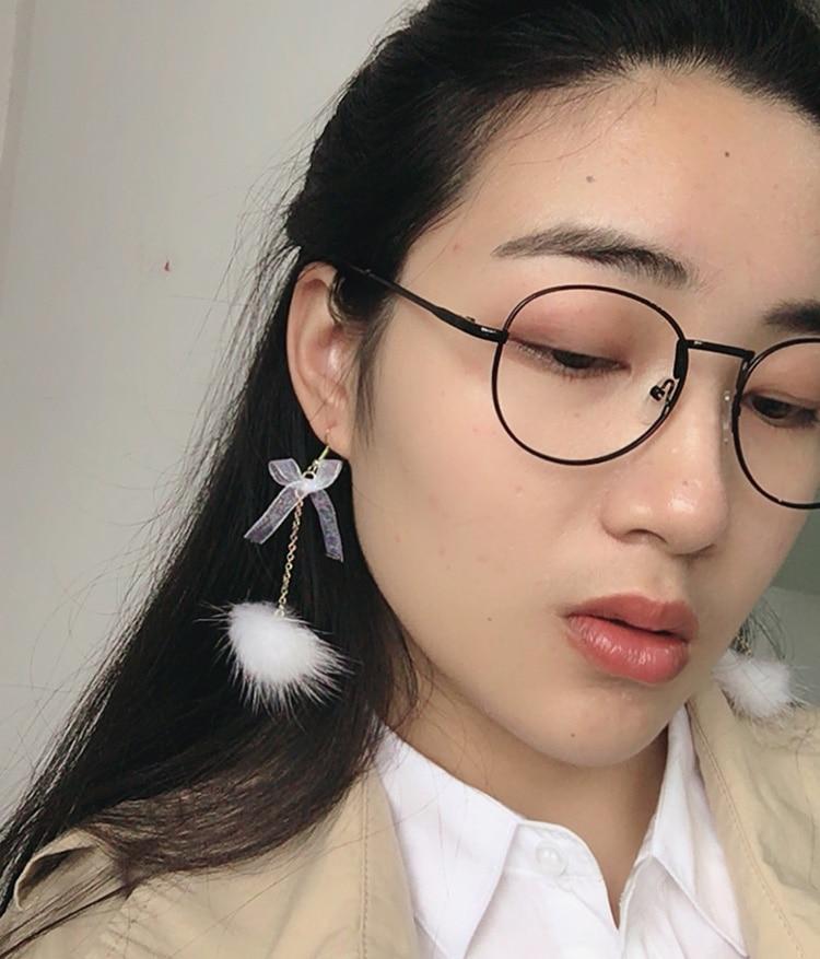 Корейская версия Новинка модные белые волосы мяч С симпатичным бантом Длинные женские серьги подарок оптовая серьги Модные украшения 2017