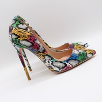 Free shipping fashion women Pumps lady Multi color snake python Pointy toe high heels shoes Stiletto Heeled 12cm 10cm 8cm