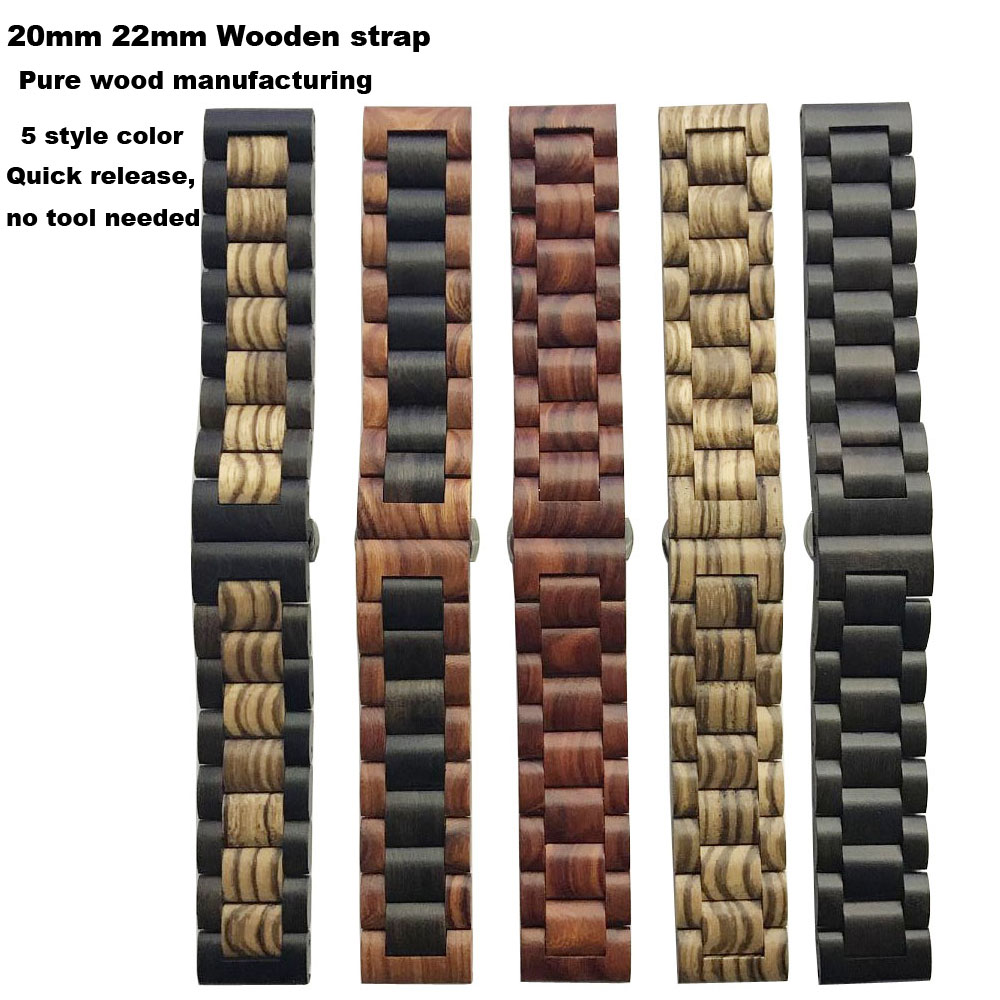Amazfit Bracelet Watch Strap 20mm 22mm for Xiaomi Huami Amazfit Pace Bip Stratos 2 Correa Band Samsung Gear S2 S3 S4 Wooden Band