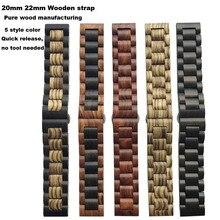 Купить с кэшбэком Smart Watch Bracelet Strap 20/22mm Wooden Pulsera Correa Band for Huami Amazfit Pace Stratos 2 Bip Lite for Samsung Gear S2 S3S4