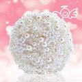 Por encargo de lujo perlas ramo artificial ramo broche de cristal hechos a mano de marfil 2016 nueva boda flores ramos nupciales