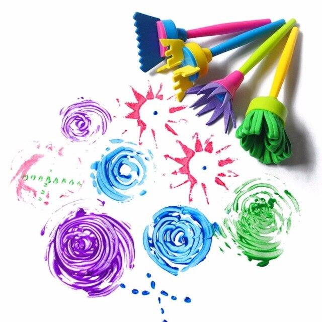 4pcs Lot Creative Flower Drawing Stamp Sponge Brush Set Art Supplies For Kids DIY Painting Tools Toys
