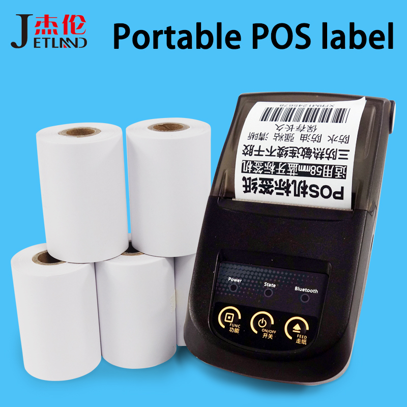 Jetland Thermal Label  Paper 57*30 57*40 Mm , Continuous Thermal Paper Adhesive Sticker Roll For Bluetooth  POS Printer