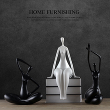 Creative resin girls lady Yoga figurine vintage statue home decor crafts room decoration objects Sports people figurines