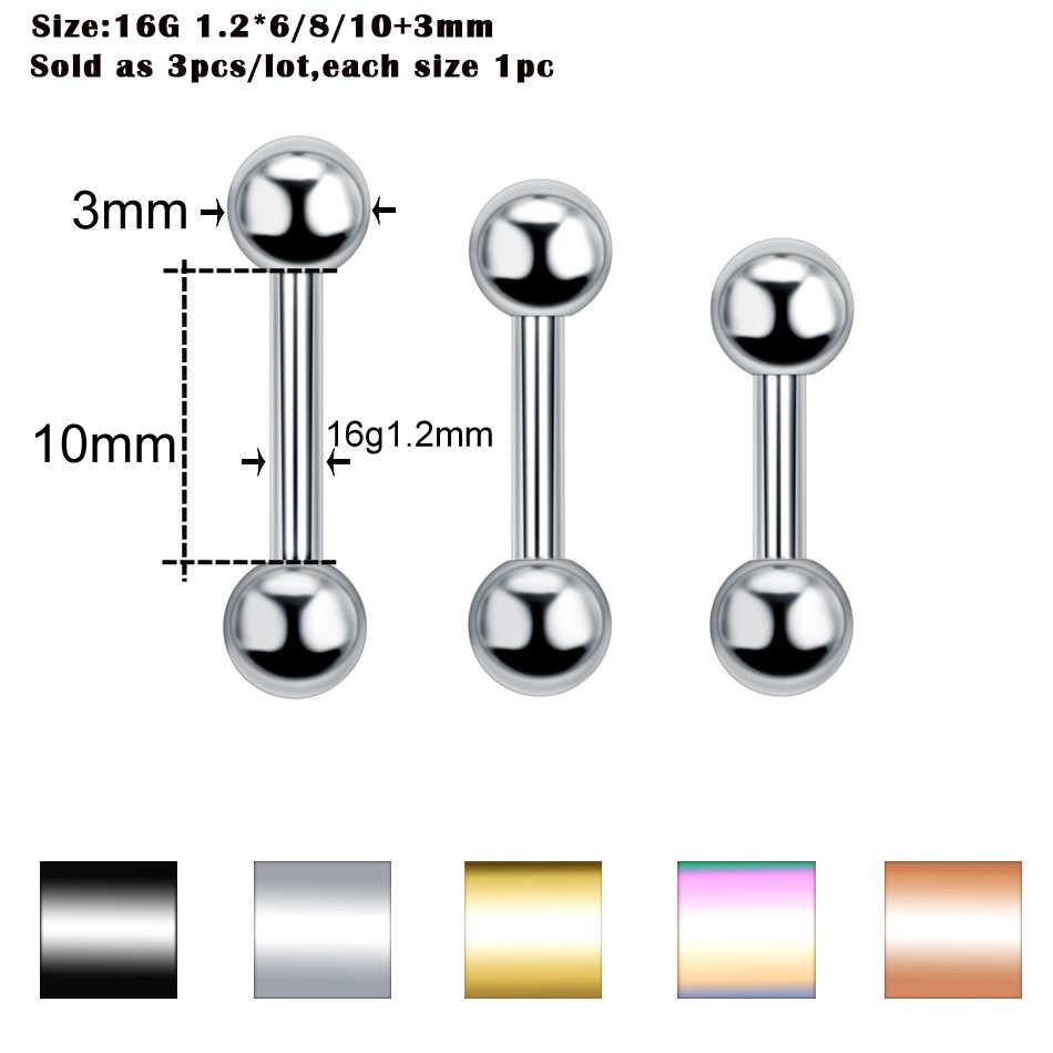 3 unids/lote acero oreja Piercings Helix Piercing ceja Piercings labial labret anillos pendiente plata barra Piercings joyas de cuerpo