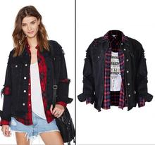 European style oversize black denim jacket fashion woman's ripped BF style Jean coat