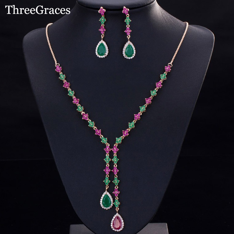 ThreeGraces Natural Red Cubic Zirconia Crystal Pave Long Dangle Necklace And Earrings Gold Color Jewelry Set For Women JS146 yoursfs dangle earrings with long chain austria crystal jewelry gift 18k rose gold plated