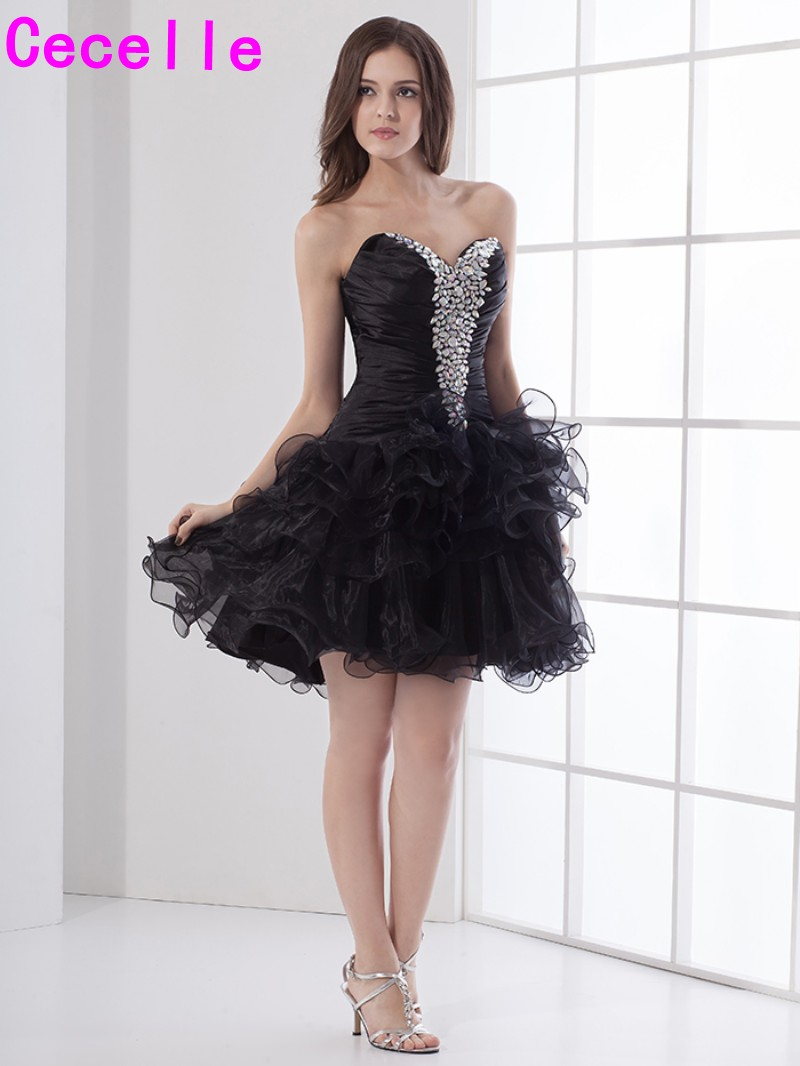 Little Black Short Cocktail Dresses Organza Ruffles Cheap Black ...