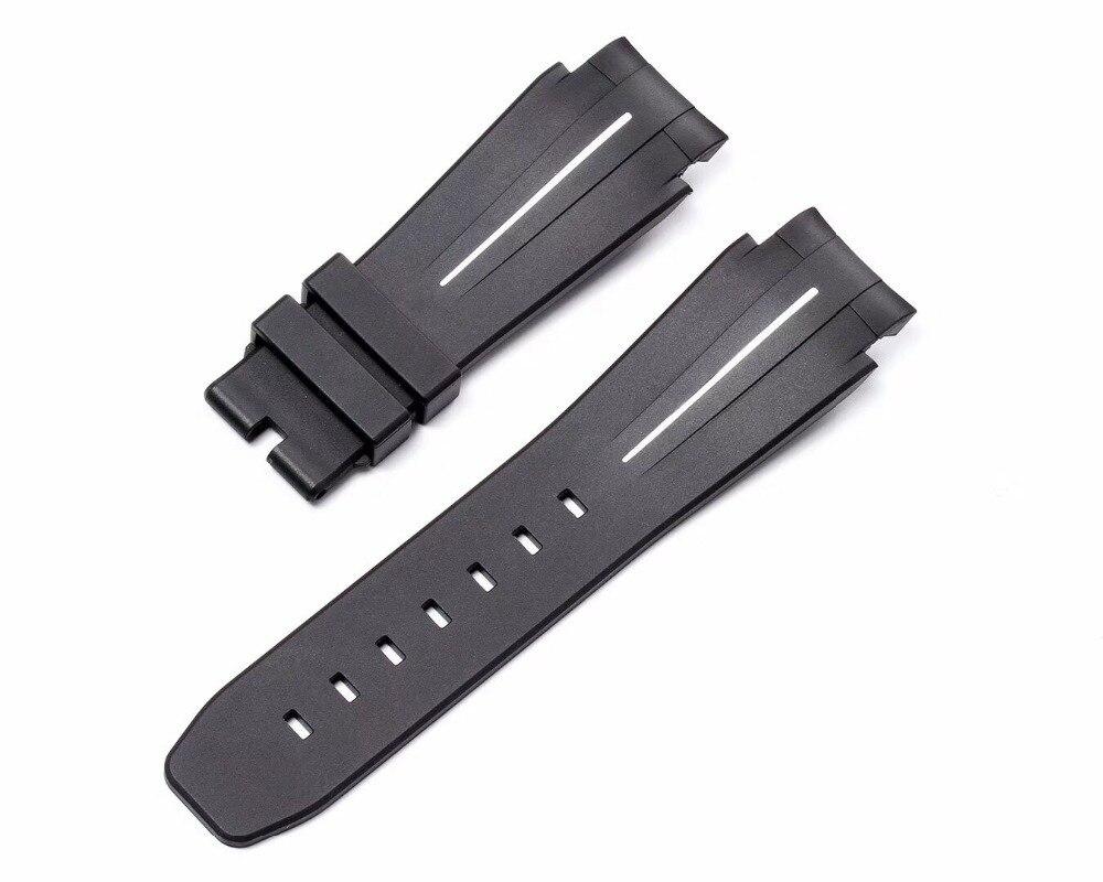 Nouveau 21mm Hommes Caoutchouc Bracelet En Silicone Souple Imperméable À L'eau Rouge Blanc Vert rouge ligne Sangle avec Oyster Fermoir RX Deepsea montre - 3