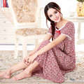 Frete grátis tamanho Plus-manga curta tecido de algodão 100% de ultra longa camisola feminina sleepwear salão de maternidade longo-luva 2xl