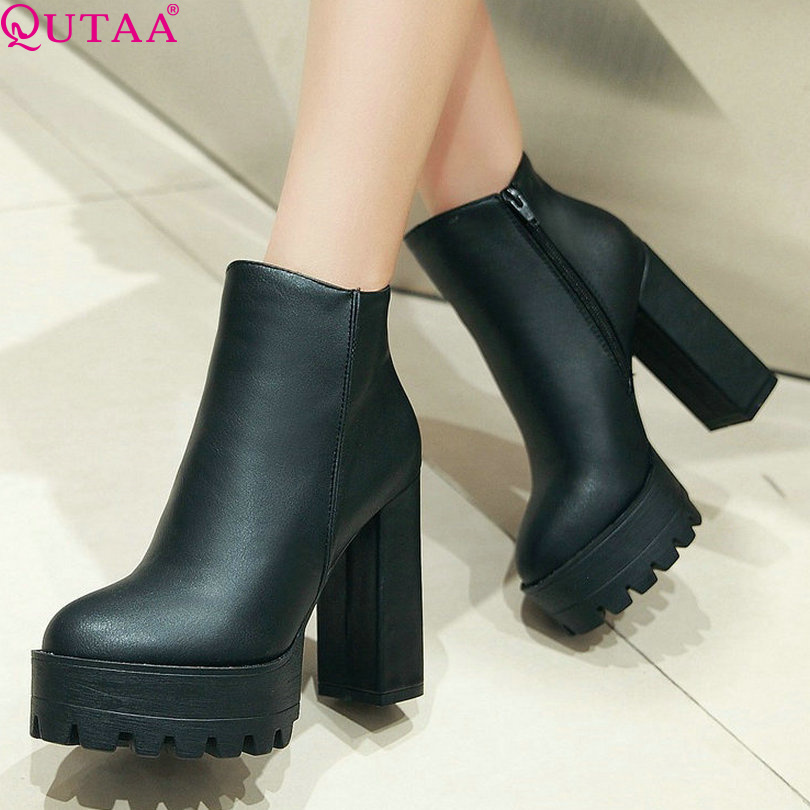 QUTAA 2018 European Style Sexy Round Toe Ankle Boots Comfortable Boots High Heels Women Boots Size 34 42