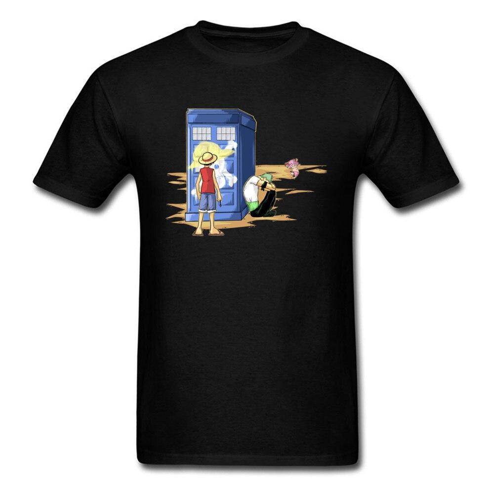 A New Going Merry 2018 Trendy Men Black T-shirt One Piece Zoro Luffy Skull Doctor Who Police Box Cartoon Tee Shirts
