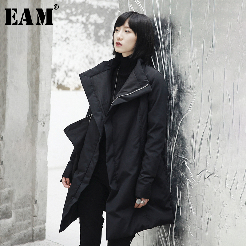 [EAM] 2019 Autumn Winter Woman New Black Long Sleeve Big Turn-down Collar Adjustable Waist Thick Irregular Down Jackets LE871