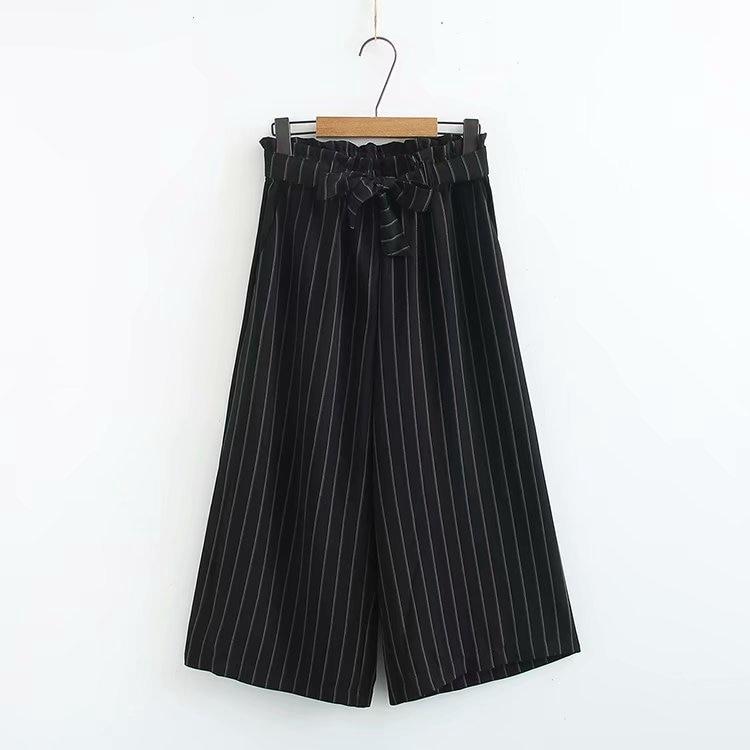 Plus Size Women Loose   Wide     Leg     Pants   Cropped Trousers Stripe Palazo   Pants