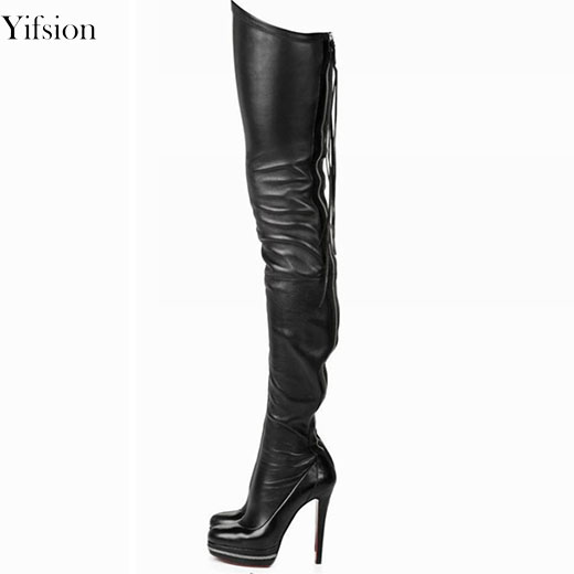 Yifsion New Fashion Women Winter Over The Knee Boots Thin High Heel Boots Sexy Round Toe 4 Colors Party Shoes Women US Size 4-15 yifsion women ladies platform over the knee boots sexy thin high heels boots fashion round toe wine red shoes women us size 4 15