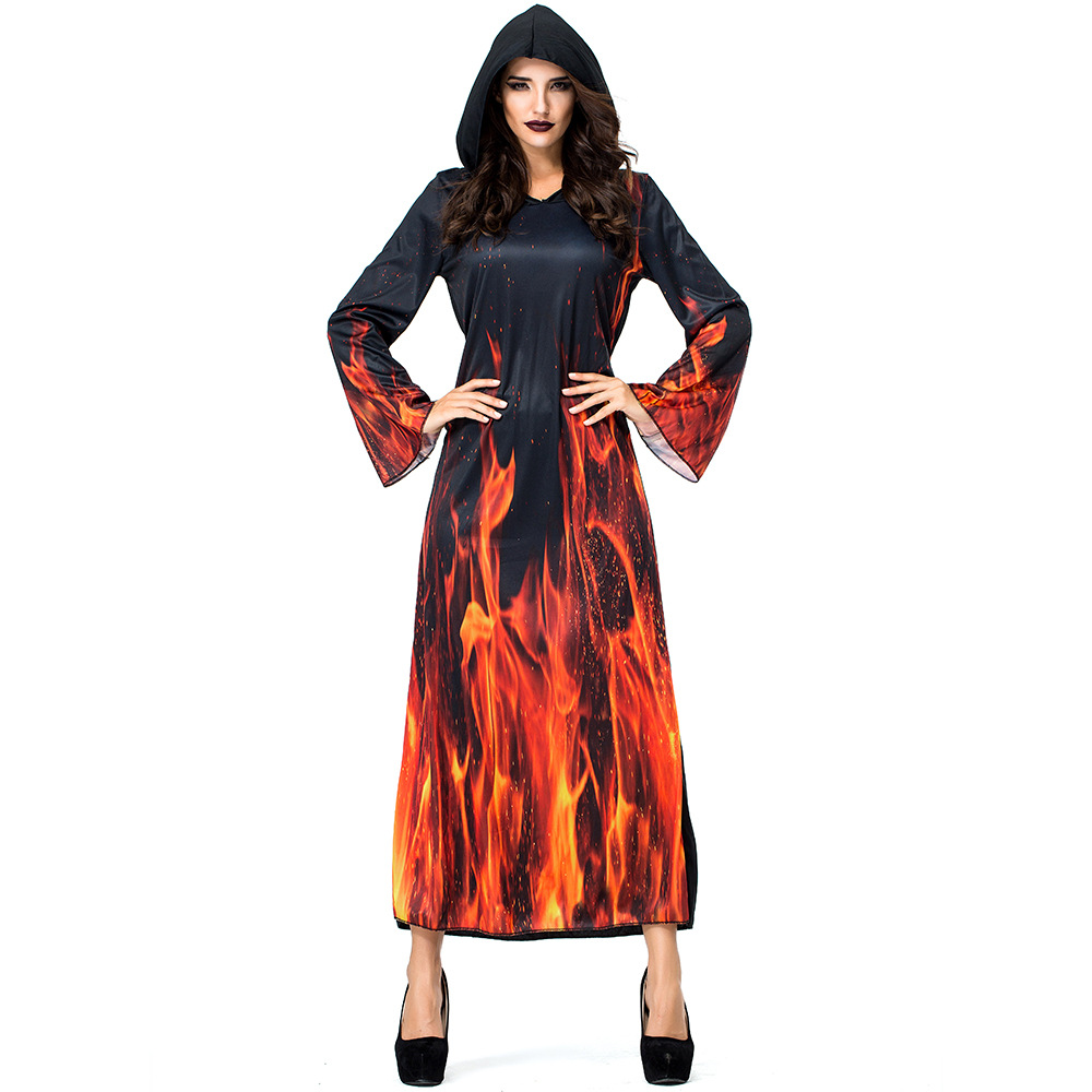 Hell Flame Ghost Vampire Witch Hooded Dress Costumes For Woman Girl Halloween Ball Party Costume Cosplay