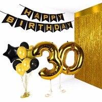 Anniversary Balloons birthday balloon set(banner+rain curtain+aluminum balloon+Latex balloons)Birthday party decoration