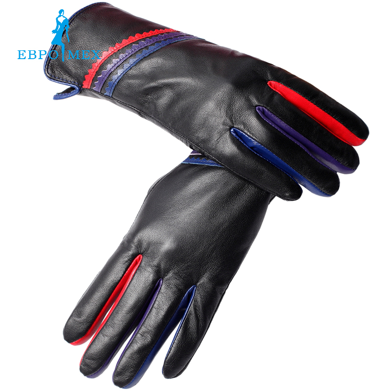 genuine Leather,cotton,adult Black,leather Gloves For Women,winter Gloves Women,free Shipping Punctual Timing Enthusiastic New Fashion Leather Gloves