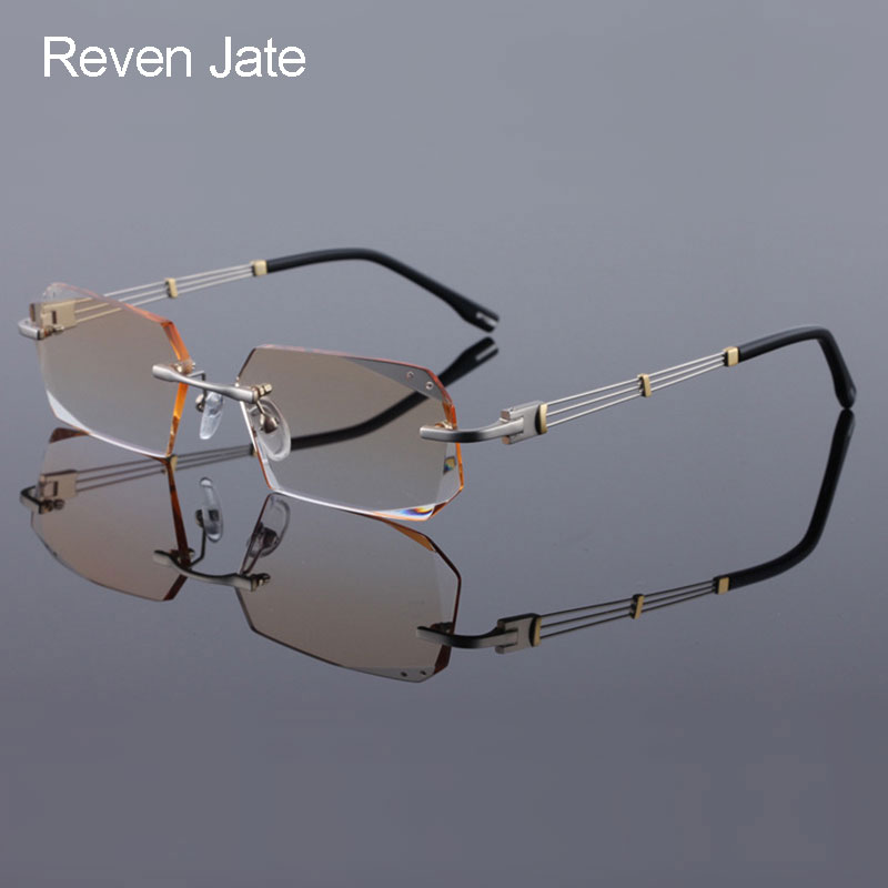 b272360c7d Reven Jate 58128 Pure Titanium Rimless Diamond Cutting Man Glasses Frame  Optical Prescription Eyeglasses Men Eyewear Fashion