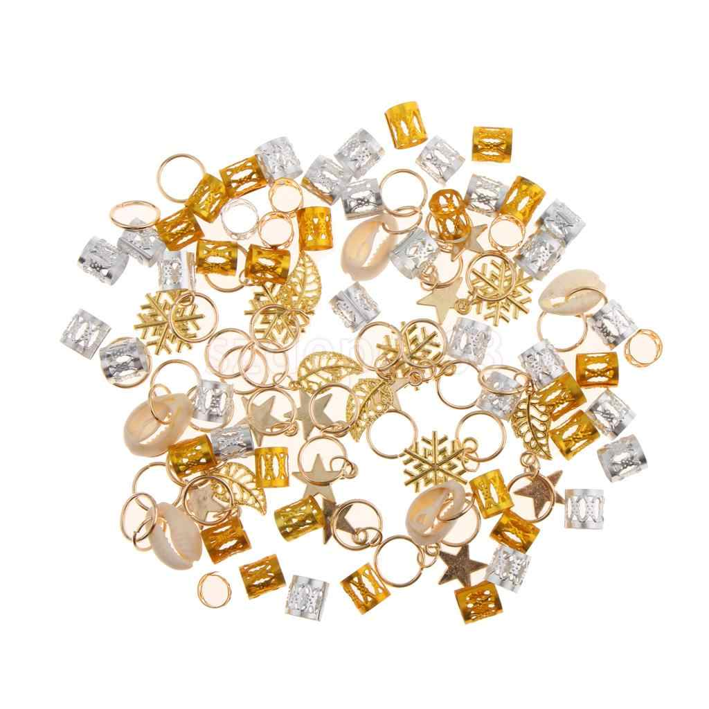 84 Pcs Hip Hop Haar Vlecht Ringen Haar Loops Clips Bulk Diy Haaraccessoires Golden Star Leaf Shell Loop Dreadlock en Sneeuwvlok