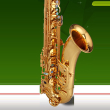 Brass Bb Tenor Saxophone Sax Carved Pattern Pearl White Shell Buttons Wind Instrument
