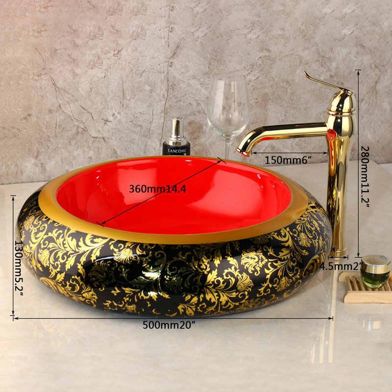 Monite Золотой керамики окрашены глазури бассейна набор ванная комната кран Столешница Раковина Одной Рукой раковиной смеситель