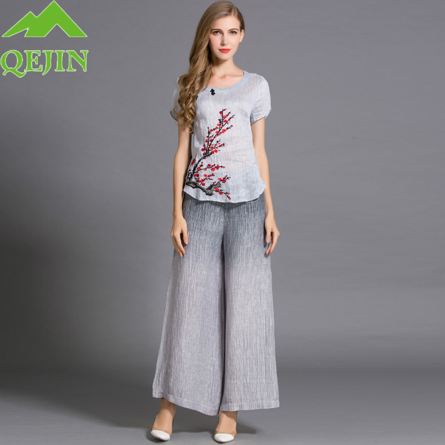 Women Fashion Suits Embroidery Short Sleeved Shirt + Loose Long Pants Silk-linen Sets High Quality For Lady's Clothes Streetwear