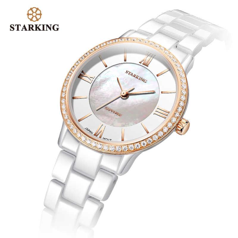 STARKING מותג יוקרה נשים שעונים לבן קרמיקה יהלומי גבירותיי שעון מתנה ספיר קוורץ שעוני יד Relogios Femininos שעון