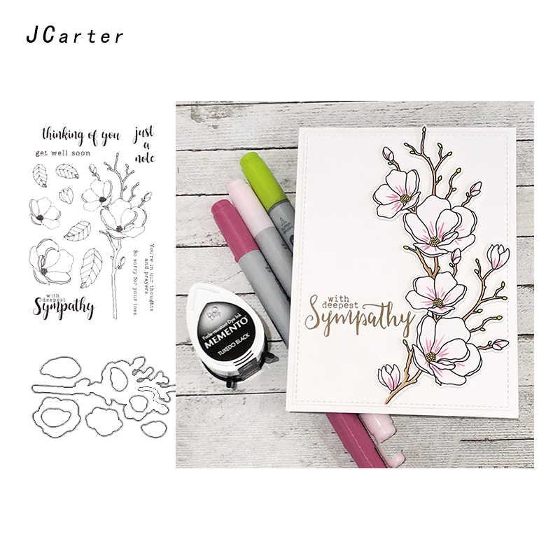 JC Metal Cutting Dies and Rubber Stamps Sympathy Flowers Scrapbooking Craft Dies Cut Stencil Card Making Album Sheet Decoration