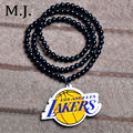 Fashion Hip Hop Lakers Collar Necklace Men Souvenir Collares Long Bead Chain Male Pendant Necklace Jewelry Gift Collier Bijoux