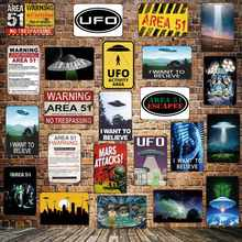 [ Mike86 ] Wanring AREA 51 I WANT TO BELIEVE UFO Aliens Metal Sign Wall Plaque Poster Custom Painting Room Decor Art LT-1695(China)