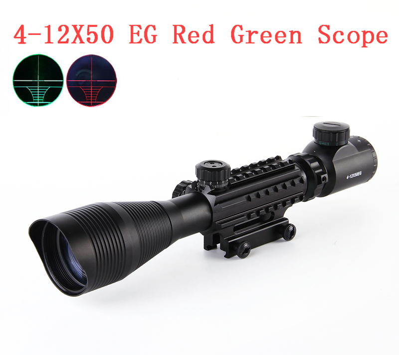 4-12X50 Tactical Optical Rifle Scope Red Green Dual Illuminated With Side Rails & Mount Fit For 20mm Rail Hunting Airsoft