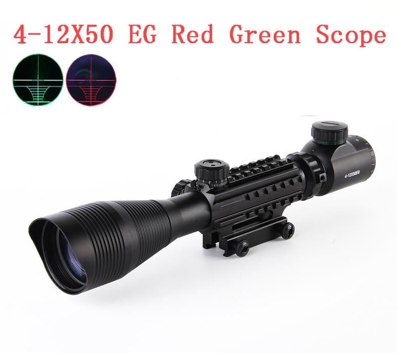 4-12X50 Tactical Optical Rifle Scope Red Green Dual Dual iluminado con rieles laterales y montaje apto para 20 mm Rail Hunting Airsoft