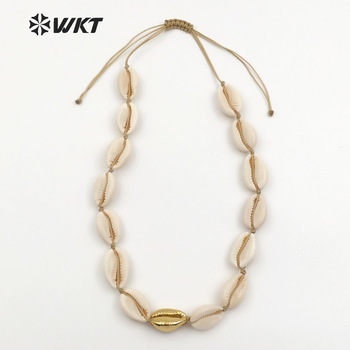WT-JN036 WKT Wholesale natural cowrie shells chokers handmade high quality women necklace 14inch can be adjustable