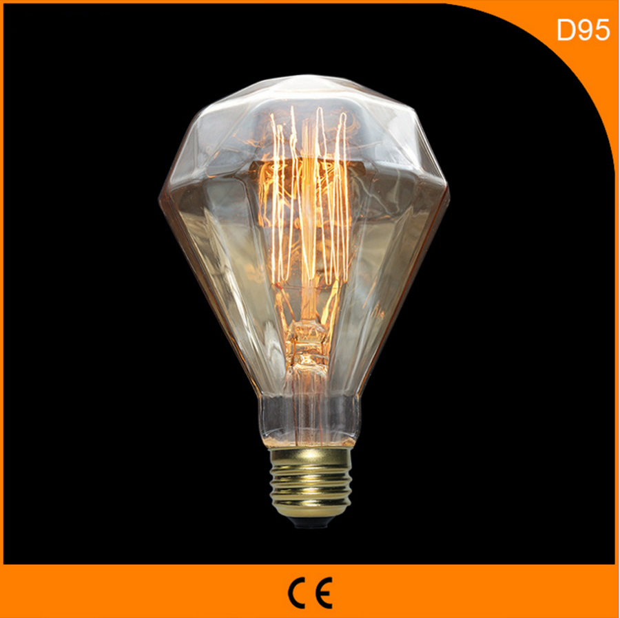 50Pcs 40W Vintage Design Edison Filament B22 E27 LED Bulb,D95 Energy Saving Decoration Lamp Replace  Incandescent Light AC220V 5pcs e27 led bulb 2w 4w 6w vintage cold white warm white edison lamp g45 led filament decorative bulb ac 220v 240v