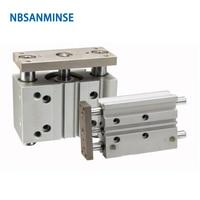 NBSANMINSE MGPL диаметр 80 ISO Компактный цилиндр направляющей стержневой Пневматический воздушный цилиндр двойного действия