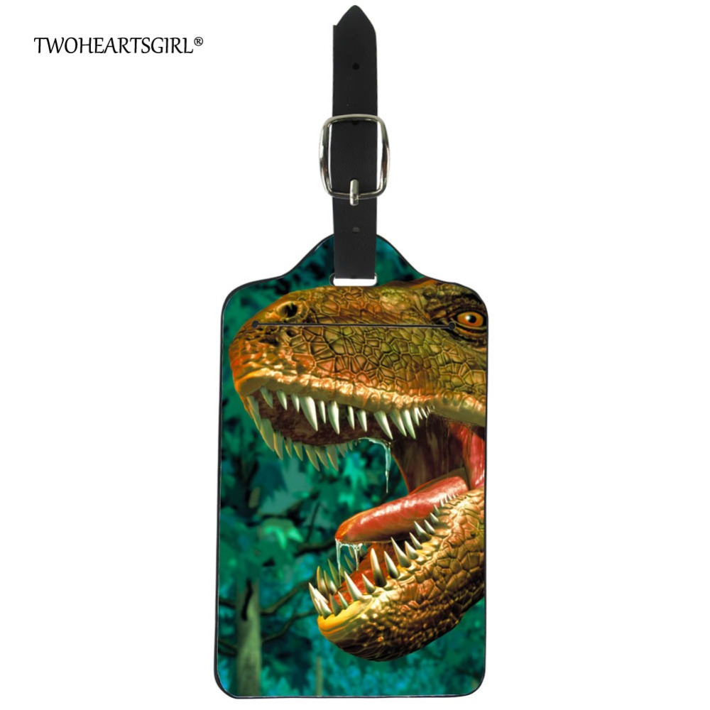 Twoheartsgirl 3d Animal Dinosaur Print Luggage Tag Baggage Suitcase Name Address Id Holder Leather Travel Label Boarding Tag