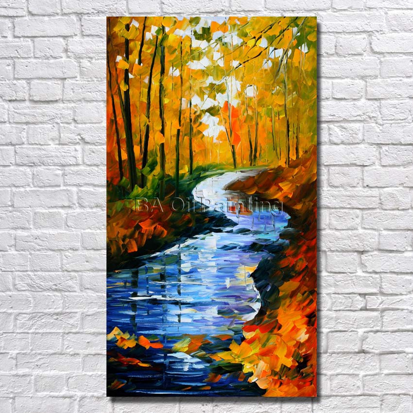 Big Size 100% Hand Painted Beautiful Long River Landscape Palette Knife Painting On Canvas For Living Room Decor Art No Framed