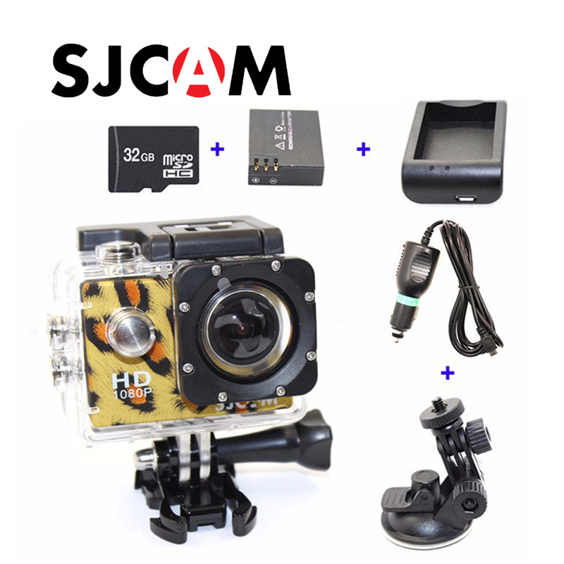 Free shipping!!Original SJCAM SJ4000 Action Camera+Car Charger+Holder+Battery Charger +Extra battery +32GB TF Card for DVCamera 1000pcs dupont jumper wire cable housing female pin contor terminal 2 54mm new