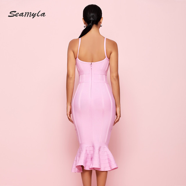 Women Summer Bandage Dress Pink Spaghetti Strap Mermaid Vestidos Sexy Knee Length Celebrity Evening Party Dresses