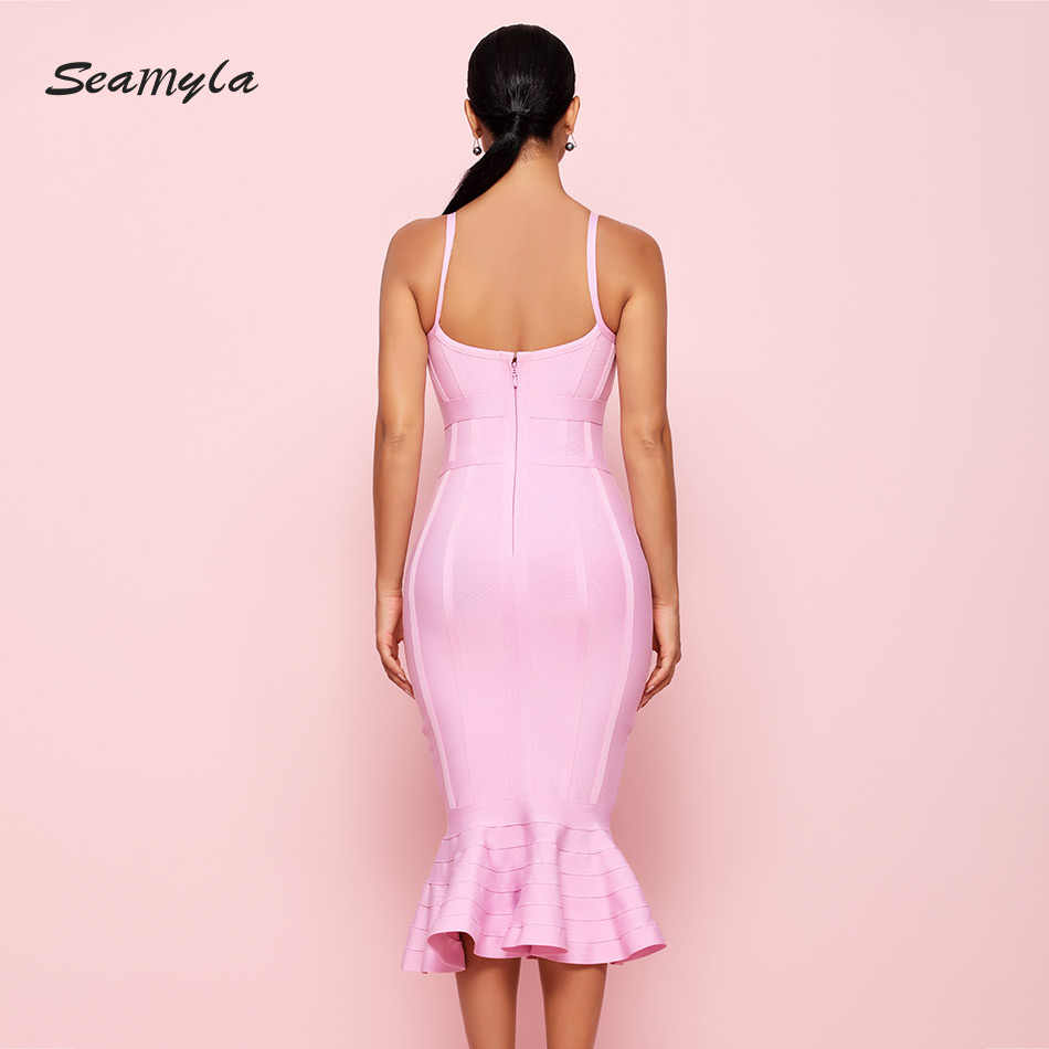 1a9cf752541 ... Seamyla Women Summer Bandage Dress 2018 Pink Spaghetti Strap Mermaid  Vestidos Sexy Knee Length Celebrity Evening