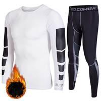 Men Thick Plus Velvet Thermal Underwear Sets Male Fitness Gymming Sportting Winter Men's O Neck Cashmere Long Johns For Men V5