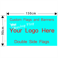 Double Side Custom Flag Full Color 3 5 Customized Personalized Logos For Banners 100D Polyester Brass