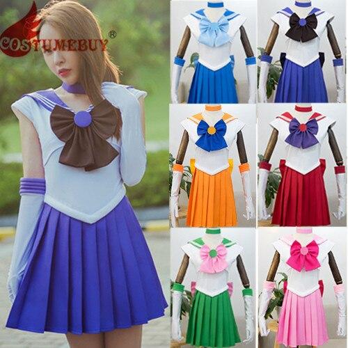 Costumebuy Sailor Moon Minako Aino Sailor Venus Cosplay Navy Sailor School Uniform Costume Halloween Kawaii Girl Dress Skirt