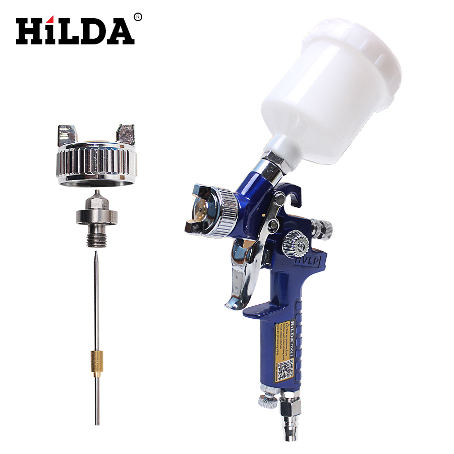 HILDA 0.8MM/1.0MM Nozzle 1800rpm Paint Professional HVLP Spray Gun Mini Air Paint Spray Guns Airbrush For Painting Car Aerograph